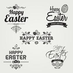 Happy Easter labels set, instant color change, vector design