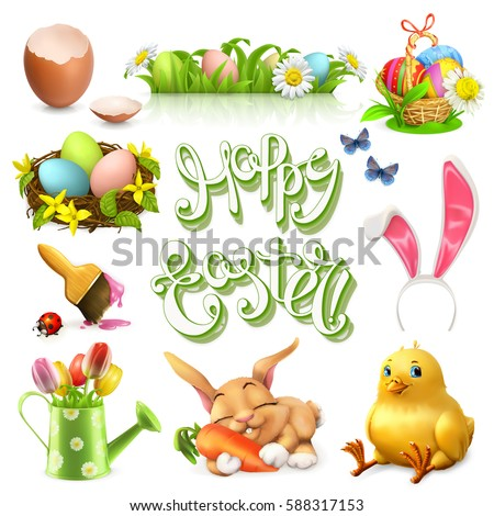 Happy Easter lettering and 3d vector icon set.