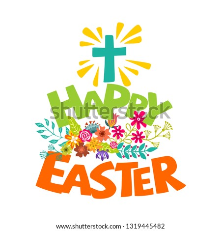 happy easter lettering and