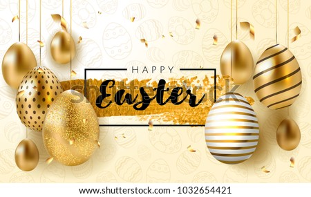 Stock Photo Happy Easter lettering background with realistic golden shine decorated eggs, confetti, golden brush splash. Vector illustration greeting card, ad, promotion, poster, flyer, web-banner, article