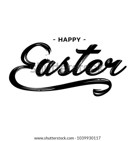 Happy Easter lettering greeting text vector illustration.