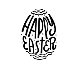 Happy Easter lettering in egg. Vector isolated handwritten Inscription. Brush pen modern trendy style. Black and white. Hand drawn calligraphy.