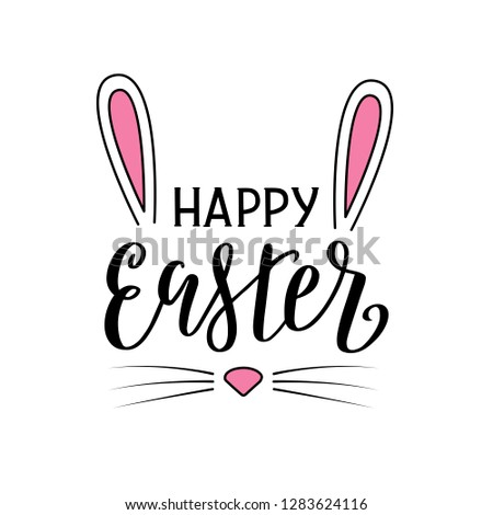 Happy Easter lettering poster in the shape of rabbit head. Easter bunny ears, nose and whiskers. Vector illustration eps 10