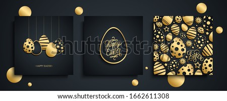 Happy Easter luxury greeting cards set. Easter holiday invitations templates collection with hand drawn lettering and gold easter eggs. Vector illustration. Photo stock ©