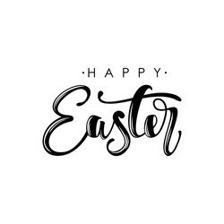 Happy Easter modern brush calligraphy. Ink illustration. Isolated on white background.