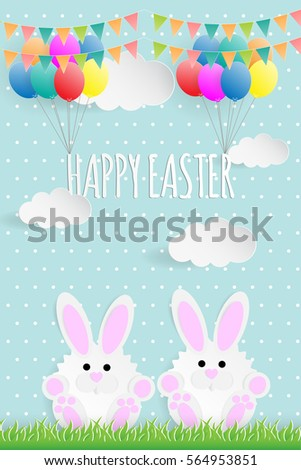 happy easter paper cut on