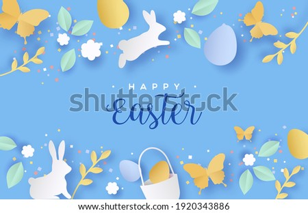 Happy easter papercut greeting card of 3d paper craft spring icons. Colorful cutout decoration includes rabbit, flowers, eggs and butterfly.