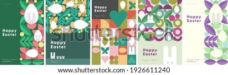 Happy Easter. Patterns. Modern geometric abstract style. A set of vector Easter illustrations. Easter eggs, rabbit. Perfect for a poster, cover, or postcard. Foto stock ©