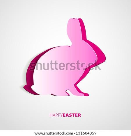 happy easter pink rabbit bunny