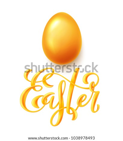 Happy Easter poster with hand drawn lettering and realistic gold egg, vector illustration