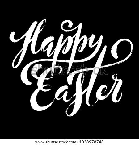 Happy Easter poster with hand drawn lettering, vector illustration