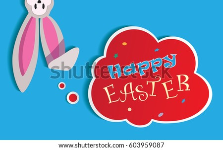 happy easter retro card with