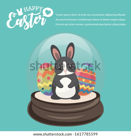 Happy Easter's Day, Black Rabbit in Snowglobe give colourful eggs and gifts with Green background. Vector illustration greeting card, ad, promotion, poster, flyer, banner, web-banner, article