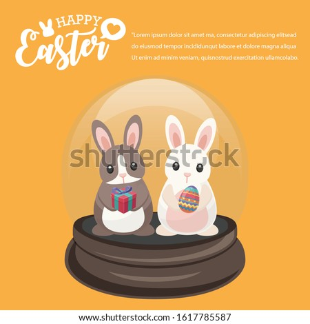 Happy Easter's Day, Brown Bunny and White Rabbit in Snowglobe give colourful egg and gifts with Yellow background. Vector illustration greeting card, ad, promotion, poster, flyer, banner, web-banner,