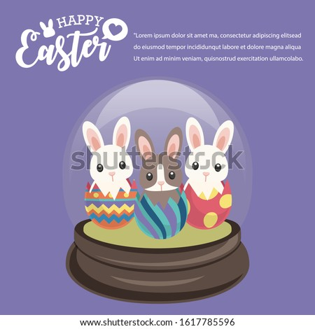 Happy Easter's Day, Ganster Rabbit in Snowglobe give colourful eggs and gifts with Violet background. Vector illustration greeting card, ad, promotion, poster, flyer, banner, web-banner, article