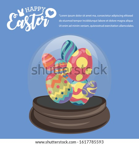 Happy Easter's Day, Party colourful eggs in Snowglobe with Blue background. Vector illustration greeting card, ad, promotion, poster, flyer, banner, web-banner, article.