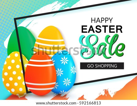 happy easter sale banner with
