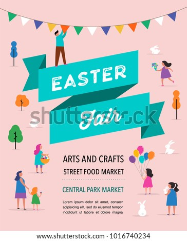 Happy Easter scene with families, kids. Easter street event, festival and fair, banner, poster design
