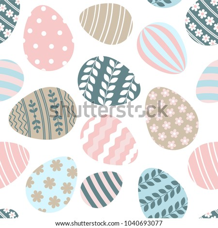 Happy Easter seamless pattern greeting card with decorated painted Easter eggs. Vector Illustration flat style design for invitations, prints, wrapping paper