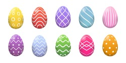 Happy Easter. Set of Easter eggs with different texture on a white background. Spring holiday. Vector Illustration. Happy easter eggs