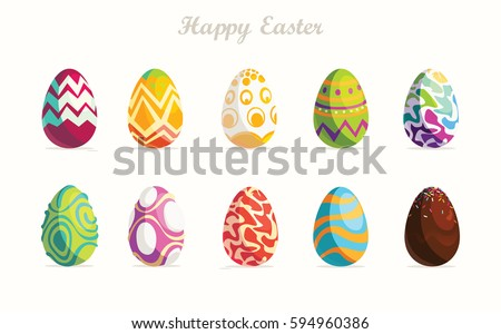 happy easterset of easter eggs
