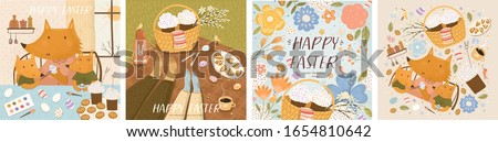 Happy Easter! Set of posters with fox family paints eggs; couple celebrating on picnic; Easter cakes in basket, flowers and isolated objects. Vector cute illustration for card, postcard or poster