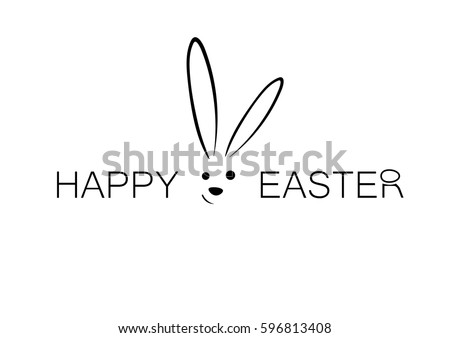 Happy easter  simple , thin lettering with a rabbit and an egg on the top of the letter R isolated on white background.