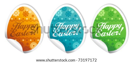 Happy Easter stickers in form of eggs.