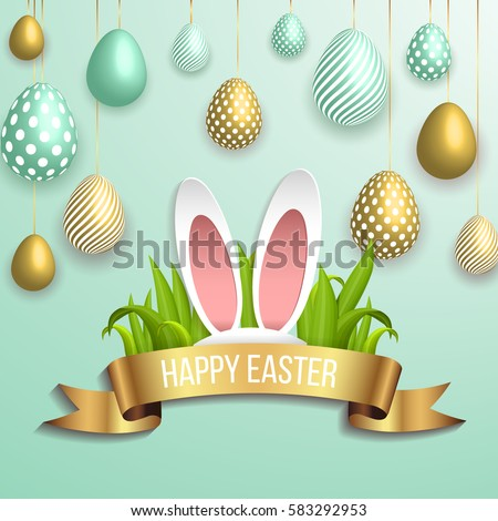 Happy easter template with gold ribbon and eggs, bunny ears, dotted green background. Vector illustration. Design layout for invitation, card, menu, flyer, banner, poster, voucher.