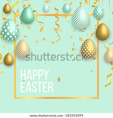 Happy easter template with gold ribbon and eggs, frame, green background and gold confetti. Vector illustration. Design layout for invitation, card, menu, flyer, banner, poster, voucher.