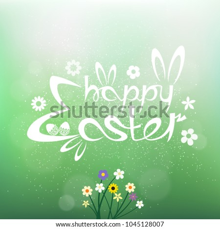 happy easter text on green