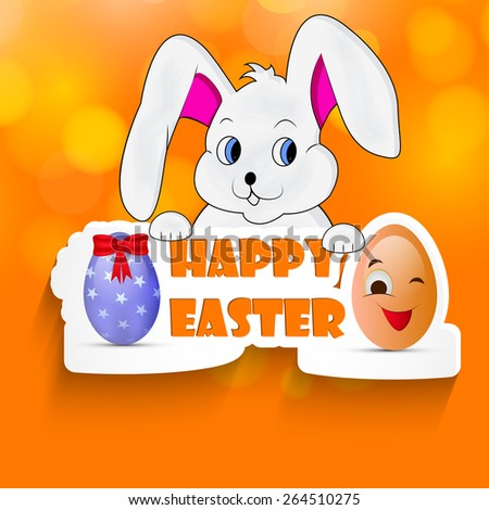 Happy Easter text with effects with Illustration of Bunny for Easter #264510275