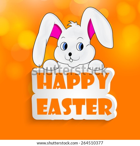 Happy Easter text with effects with Illustration of Bunny for Easter #264510377