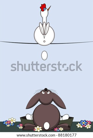Happy Easter - the easter bunny catches easter eggs