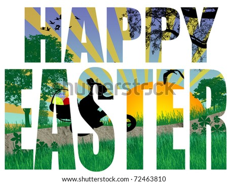 Happy Easter title with a easter scene in the background, vector illustration