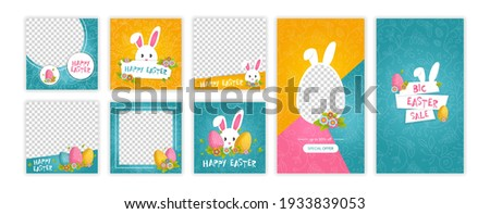Happy easter trendy template. Template for social networks stories and posts. Web online shopping banner concept. Vector illustration