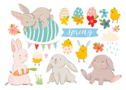 Happy Easter! Various eggs, bunnies and chicks. Hand drawn colored vector set. All elements are isolated