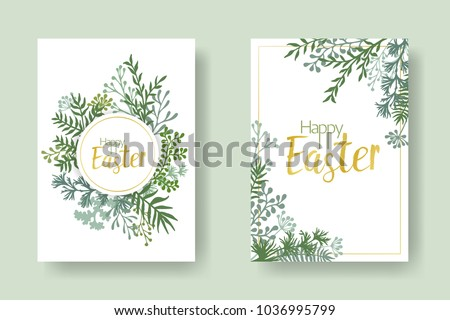 Happy Easter vector cards with herbal twigs and branches wreath and corners border, gold frames. Rustic vintage bouquets with fern frons, mistletoe twigs, willow, palm green branches. Gold Easter text
