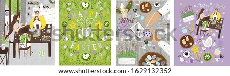 Happy easter! Vector illustration of a family decorating eggs at home in the room, a table with hands, paints, Easter cake and a festive floral background with hens and chickens. Drawings for poster.