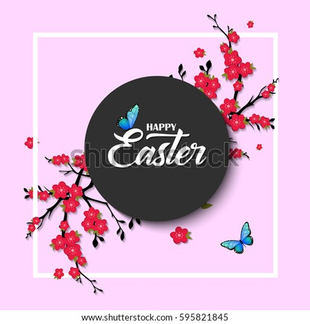 happy easter vector lettering