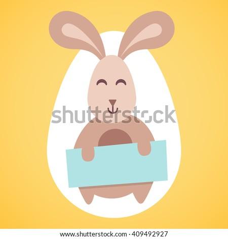 happy easter vector rabbit isolated cartoon bunny animal