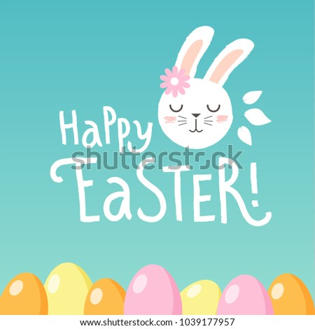 Happy Easter vectoral design easter greeting card with cute rabbit. Happy Easter handwritten lettering. Design template celebration. Vector illustration.