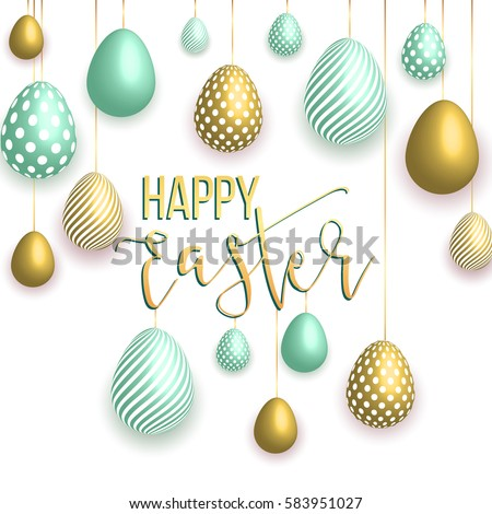 Happy Easter white background with colorful, dotted, striped gold eggs, Egg hunt for children template layout. Vector illustration. Design layout for invitation, card, menu,  banner, poster, voucher.