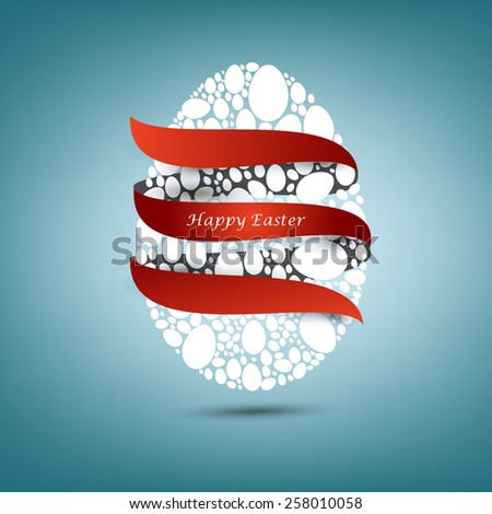 Happy Easter. White Easter eggs wrapped in red ribbon.Blue background.Vector EPS 10 . Uskrs. #258010058