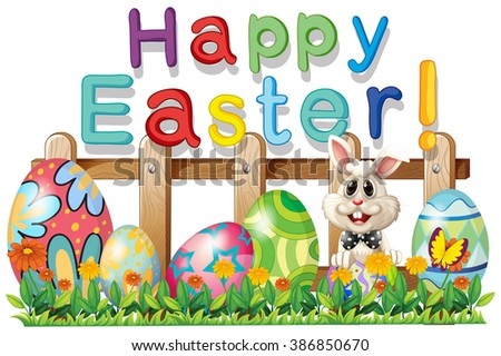 Happy Easter with bunny and eggs illustration
