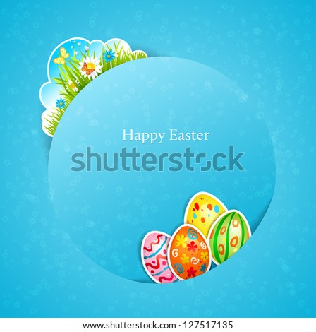 Happy Easter with egg  with space for text