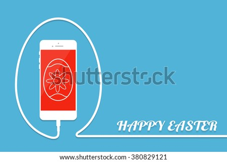 happy easter with phone  wire