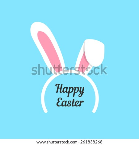 happy easter with rabbit ears