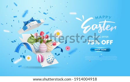Happy Easter with surprise white gift box with colorful eggs, tulip flowers and blue ribbon. Open gift box isolated. Party, Shopping poster. Easter Sunday design banner