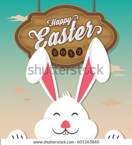 Happy Easter 2017 with wooden board hanging and smiling rabbit. Vector illustration
